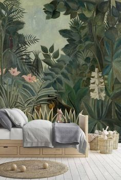 Peel and Stick Wallpaper Leaves, Jungle Wallpaper Kids, Removable Tropical Leaf Wallpaper Mural, Tropical Wall Mural Wallpaper Jungle - Jungle Wallpaper Mural Tropical Rainforest Jungle Green Large -