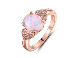 chicmarket.com - 18K Rose Gold Plated Fire Opal & Cubic Zirconia Heart Statement Ring - Size 8