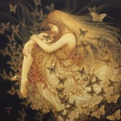 Masaaki Sasamoto lives and works in Yamanashi Prefecture, on the island of Honshu, Japan. The artworks of Masaaki Sasamoto are exhibited at Art Prefectural Gallery of Yamanashi Museum. Art Inspo, Fairytale Art, Fairy Art, Pretty Art, Aesthetic Art, Aesthetic Drawing, Faeries, Oeuvre D'art, Fantasy Art