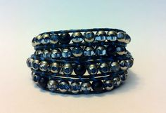 Black and blue multi-wrap bracelet