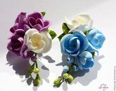 """Купить веточка фрезии """"duocolor"""" на зажиме - цветы из полимерной глины, Холодный фарфор, сиреневый цвет"""