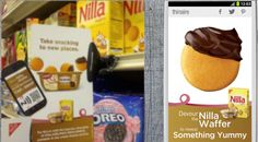 Kraft uses NFC (near field communication - mobile technology that could replace QR codes) to provide an easy way to tap a phone to a shelf talker to instantly provide recipe content and coupons (no app needed - instant download to phone).