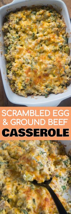 KETO Scrambled Egg and Ground Beef Casserole recipe that's easy to make! This baked casserole is low carb and you can make ahead overnight if you'd like! It's packed with vegetables and sprinkled with cheddar cheese!
