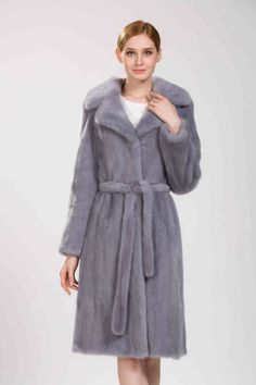 >> Click to Buy << 2017 new woman natural blue mink fur coat with  belt  and turn-down collar length of 105cm #Affiliate