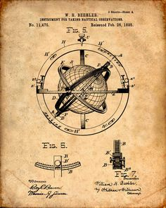 Nautical Observation Patent Print From 1895 - Compass - Patent Art Print - Patent Poster - Nautical Steering - Boating - Sailing Navigation door VisualDesign op Etsy https://www.etsy.com/nl/listing/212273391/nautical-observation-patent-print-from