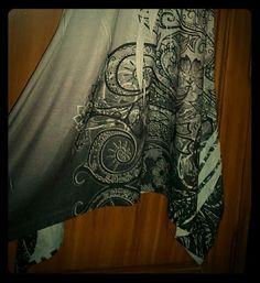 India Boutique medium dress / tunic New without tags size medium sleeveless shark bite hem tunic/dress - beautiful print with silver and black embellishments.  90% polyester,  10% elastane India Boutique  Dresses Asymmetrical
