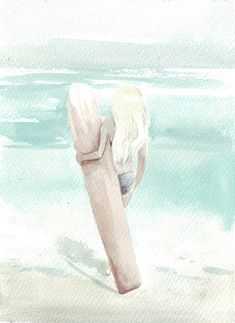 Original watercolor surf surfer girl surfboard art by HelgaMcL http://etsy.me/10xluEG $20.00