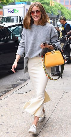 Olivia Palermo - click through for more cute outfits to wear with white sneakers