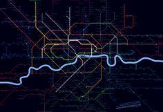 Black Light Map of London Transport Network London Transport, Public Transport, Metro Map, Shadowrun, Evolution, Maps, Transportation, Art Photography, Infographic