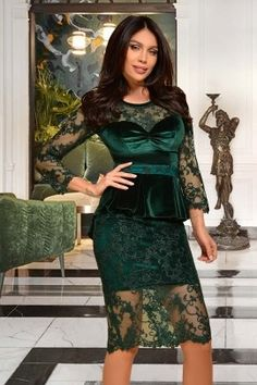 Rochie Atmosphere verde de ocazie trei sferturi mulata din catifea si dantela cu peplum in talie Lace Skirt, Peplum, Formal Dresses, Floral, Green, Skirts, Collection, Fashion, Dresses