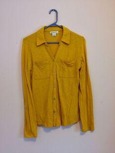 Women's Size S Small Liz Claiborne Mustard Yellow Soft Comfortable Shirt Top  | eBay