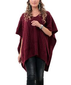 Another great find on #zulily! Burgundy V-Neck Poncho & Arm Warmers - Plus #zulilyfinds