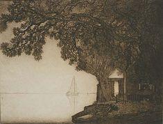 By the Sea (Aan het Meer) - W. O. J. NIEUWENKAMP, Etching printed with plate stone, 1909