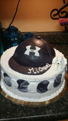 Hat cake ball cap cake under Armour cake birthday cake idea