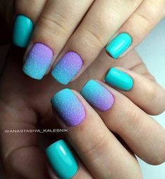 Beautiful nails 2017, Bright summer nails, Gradient nails 2016, Medium nails…