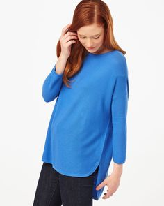 cd707213c70564 Phase Eight Megg Curve Hem Jumper Blue