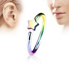 Spikes Coloured piercing hoop with small star - rainbow Piercing Nasal, Upper Ear Piercing, Piercing Cartilage, Piercing Ring, Tragus, Ear Piercings, Arrow Earrings, Cuff Earrings, Estilo Cool