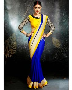 Blue and yellow sari with embroidered blouse   1.Blue and yellow chiffon satin sari2. Zari embroidery on blouse sleeves3. Golden border on sari4. Comes with matching unstitched blouse material