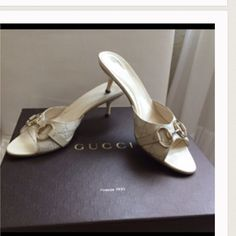 """AUTHENTIC GUCCI SHOES  Cream color. Gold hardware. 2.5"""" heel. Very gently used. Normal wear. Very good condition. True to size. No box/dust bags. NO TRADES. Reasonable offers only please Gucci Shoes Heels"""
