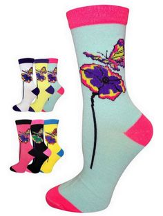 Butterfly Socks Size 9-11 Butterflies Multi-Color 6 Pairs Set by Yelete  #Yelete #Casual