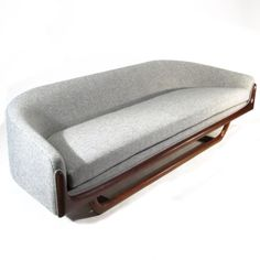 "Adrian Pearsall Sofa Adrian Pearsall Model 2834-S sofa. Newly upholstered in grey Hallingdal 130 from Kvadrat. Walnut base with gentle curves. 98""L x 32""D x 26""H x 18""SH"