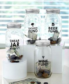 Watch your money grow in this clear Glass Money Saving Jar. Start saving today for your next vacation or night out. You can also break yourself of an undesirabl
