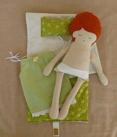Tecido Boneca Boneca de pano com o saco de dormir