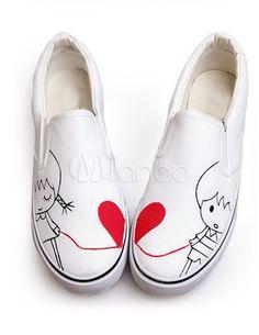 Chaussures en toile blanc imprimé de couple