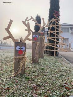 Noël - Site de toutpetitrien ! Outdoor Wooden Christmas Decorations, Christmas Crafts To Make, Christmas Projects, Large Christmas Ornaments, Christmas Tree Farm, Christmas Fun, Deco Noel Nature, Theme Noel, Exterior