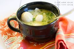 Warm, rich broth with soft dumplings make this Paleo chicken and dumplings recipe a mouthful of love. Warm, rich broth with soft dumplings make this Paleo chicken and dumplings recipe a mouthful of love. Paleo Chicken Soup, Paleo Soup, Paleo Chicken Recipes, Paleo Recipes, Real Food Recipes, Cooking Recipes, Ginger Chicken, Recipe Chicken, Delicious Recipes