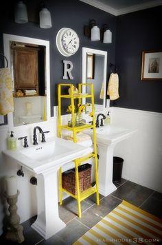 Slate Grey And Bright Yellow Bathrooms Grey Bathrooms Bathroom - Modern Bad Inspiration, Bathroom Inspiration, Bathroom Kids, Master Bathroom, Bathroom Colors, Kids Bath, Bathroom Storage, Navy Bathroom, Design Bathroom