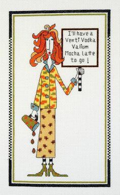 """Dolly Mamas """"Venti Vodka Valium Mocha Latte To Go"""" Cross Stitch Kit - Janlynn"""