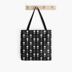 'Black & White Skull Stripes' Tote Bag by HavenDesign Striped Tote Bags, Black Tote Bag, Cotton Tote Bags, Laptop Skin, Poplin Fabric, Iphone Wallet, Ipad Case, Shopping Bag, Skull