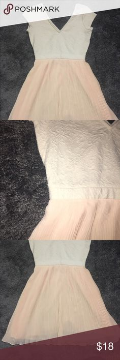 UO pink and white dress V neck, flowy skirt, and detailed top. Great condition Urban Outfitters Dresses Mini