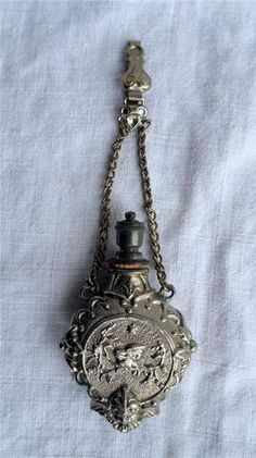 ANTIQUE SILVER METAL CHATELAINE PERFUME SCENT BOTTLE CROWN TOP C1880 | eBay