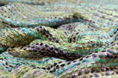 Silk/Viscose Chenille Texture Weave in Greens, Turquoise and Lilac Berwick Street Fabrics - amazing fabrics now online
