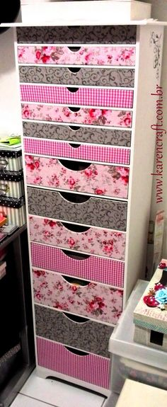 craft room organizer drawer drawers cabinet fabric shabby chic vintage floral ideas