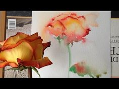 Rose painting idea, video, tutorial. Make your gift roses last longer by painting them in watercolor - YouTube