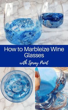 DIY marbleized wine glasses, a fun craft project using spray paint or nail polish and stemless wine glasses crafts diy nail polish DIY Marbleized Wine Glasses with Spray Paint: 10 Minute Craft Diy Wine Glasses, Stemless Wine Glasses, Decorated Wine Glasses, Christmas Wine Glasses, Decorated Bottles, Painted Bottles, Hand Painted Wine Glasses, Wine Glass Crafts, Wine Bottle Crafts