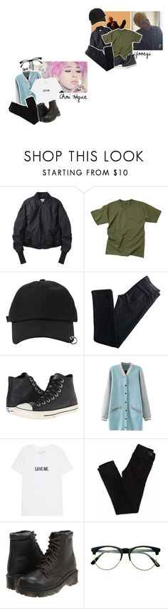 """Puppy and Bad boy"" by hanabusa ❤ liked on Polyvore featuring Acne Studios, Rothco, StyleNanda, Karl Lagerfeld, Converse, American Eagle Outfitters, Dr. Martens and Retrò"