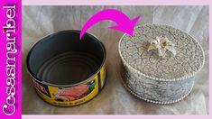 Reciclaje de latas de atun grandes con cascara de huevo.Precioso cofre para joyas - YouTube Tin Can Art, Tin Art, Diy And Crafts, Arts And Crafts, Newspaper Crafts, Dog Bowls, Decoupage, Candle Holders, Projects To Try