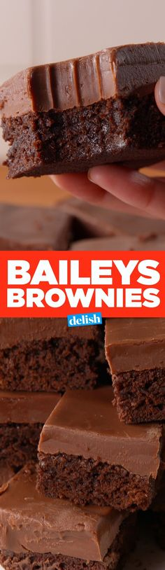 Baileys Fudge Brownies Satisfy Your Chocolate AND Booze Cravings Cookie Desserts, Chocolate Desserts, Just Desserts, Delicious Desserts, Yummy Food, Chocolate Chips, Brownie Recipes, Cookie Recipes, Dessert Recipes