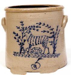 S HART FULTON 5 Gallon salt-glazed Stoneware Crock circa 1860 with a cobalt blue painted dog.