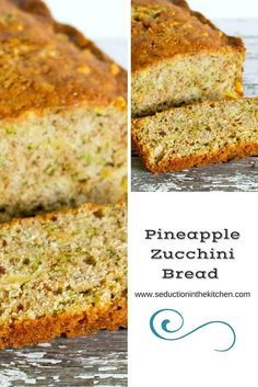 Pineapple Zucchini Bread is a sweet, tropical twist onto the traditional zucchini bread. This easy quick bread will be your new favorite treat with coffee! via @SeductionRecipe