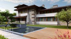 Проект удобного коттеджа – стиль Райта, площадь 510 кв.м