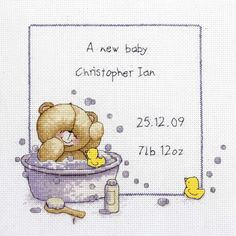 Forever Friends - Bath Time Birth Sampler - counted cross stitch kit Coats Crafts