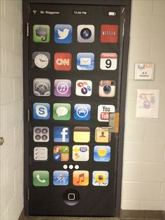 "Door decor for technology classroom at an Apple Distinguished School  - found higher resolution app icon photos and enlarged them. Then I laminated the apps and adhered them to black butcher paper with rubber cement. To make it even more lifelike I found an image of Apples iPad/iPhone signature ""one button"" for the bottom and personalized it by adding the teachers name in the upper corner. Could be repurposed next year for a classroom bulletin board too! It's been a hit!"