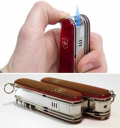 I have one swiss knife-very sharp. Victorinox Swiss Army Knife w/ Built-In Lighter