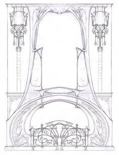 Trendy Ideas For Art Nouveau Architecture Illustration Art Nouveau Interior, Art Nouveau Furniture, Art Nouveau Architecture, Art Nouveau Design, Architecture Drawings, Design Art, Belle Epoque, Jugendstil Design, Art Nouveau Illustration
