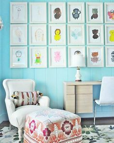 diy gallery wall -- how to & ideas for hanging and displaying kids artwork!